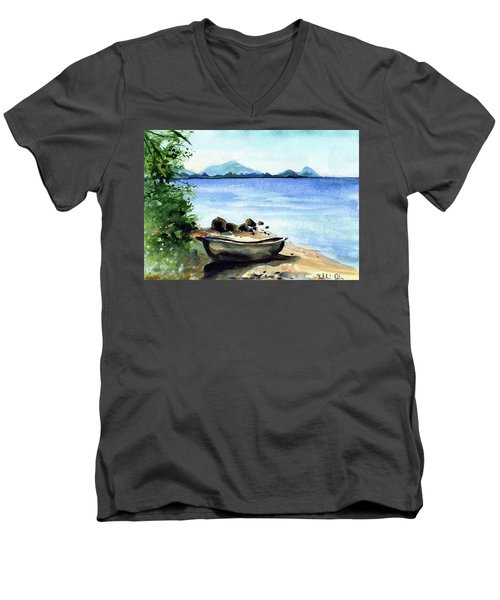 Men's V-Neck T-Shirt featuring the painting Old Carved Boat At Lake Malawi by Dora Hathazi Mendes