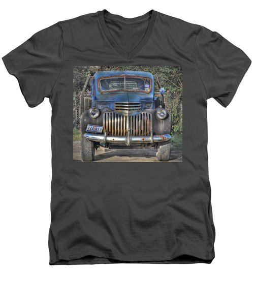 Men's V-Neck T-Shirt featuring the photograph Old Chevy Truck by Savannah Gibbs