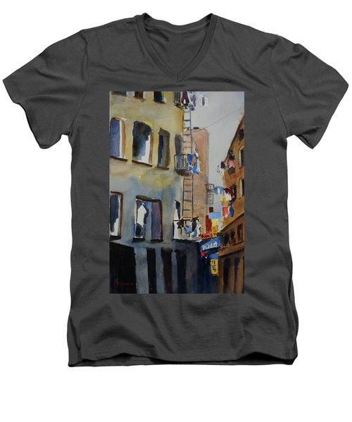 Old Chinatown Lane Men's V-Neck T-Shirt by Tom Simmons