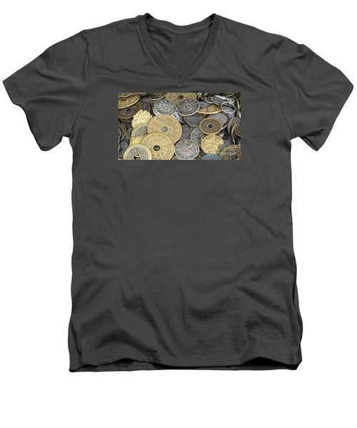 Old Chinese Coins And Money Men's V-Neck T-Shirt by Yali Shi
