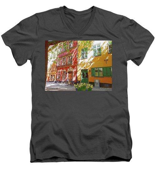 Old City Men's V-Neck T-Shirt by Thomas M Pikolin