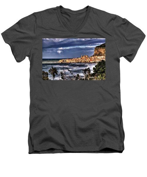 Old Coastal City  Men's V-Neck T-Shirt