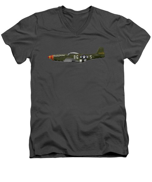Old Crow - P-51 D Mustang Men's V-Neck T-Shirt by Ed Jackson
