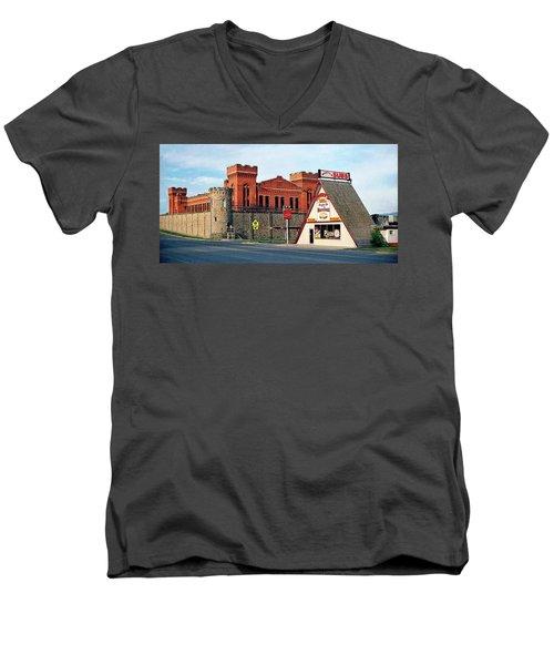 Old Deer Lodge Prison, Downtown, Vintage Men's V-Neck T-Shirt