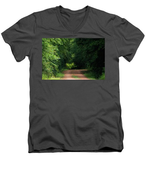 Men's V-Neck T-Shirt featuring the photograph Old Dirt Road by Shelby Young
