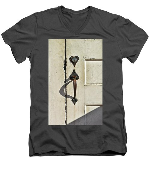Men's V-Neck T-Shirt featuring the photograph Old Door Knob 3 by Joanne Coyle