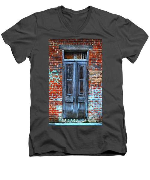 Old Door With Bricks Men's V-Neck T-Shirt