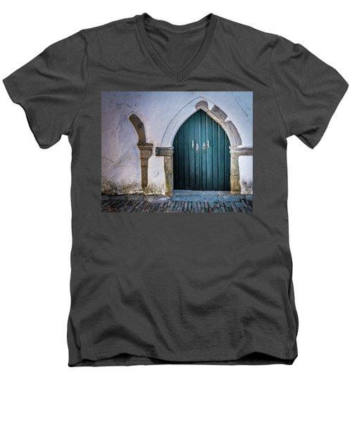 Old Doorway In Monsaraz Men's V-Neck T-Shirt