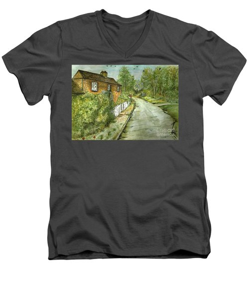 Men's V-Neck T-Shirt featuring the painting Old English Cottage by Teresa White