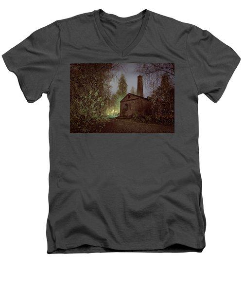 Old Factory Ruins Men's V-Neck T-Shirt by Teemu Tretjakov