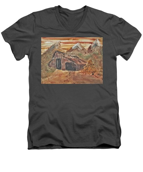 Old Farmhouse With Hay Stack In A Snow Capped Mountain Range With Tractor Tracks Gouged In The Soft  Men's V-Neck T-Shirt