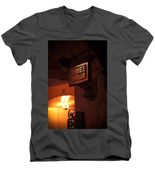 Men's V-Neck T-Shirt featuring the photograph Old Fashioned Ladies Parlor Sign by Carolyn Marshall