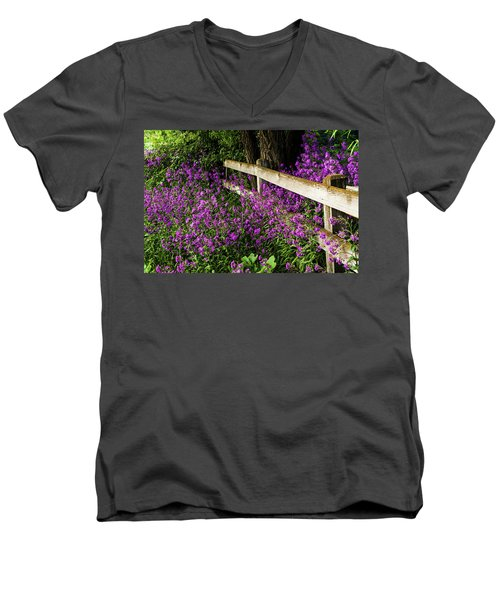 Old Fence And Purple Flowers Men's V-Neck T-Shirt