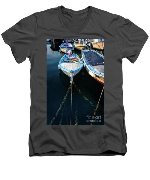 Old Fishing Boats Of The Adriatic Men's V-Neck T-Shirt