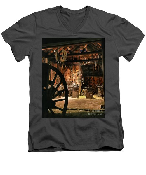 Men's V-Neck T-Shirt featuring the photograph Old Forge by Tom Cameron