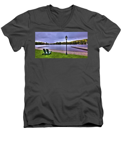 Old Forge Waterfront Men's V-Neck T-Shirt by David Patterson