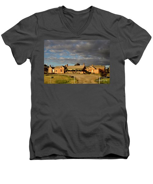 Men's V-Neck T-Shirt featuring the photograph Old Ghan Railway Restaurant by Douglas Barnard