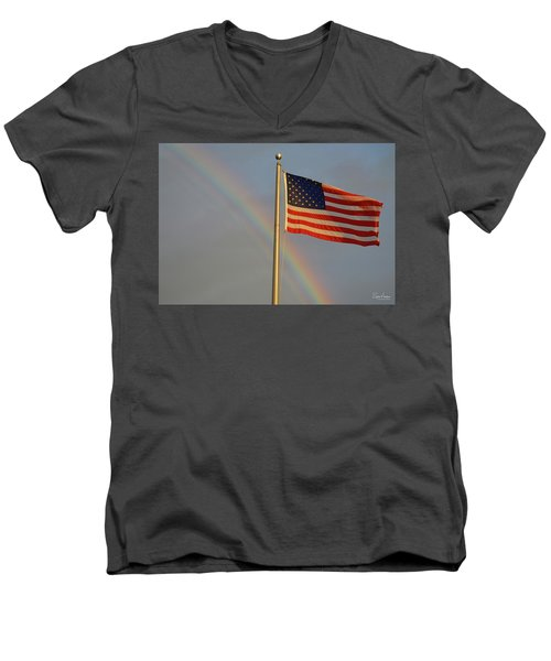 Old Glory And Rainbow Men's V-Neck T-Shirt