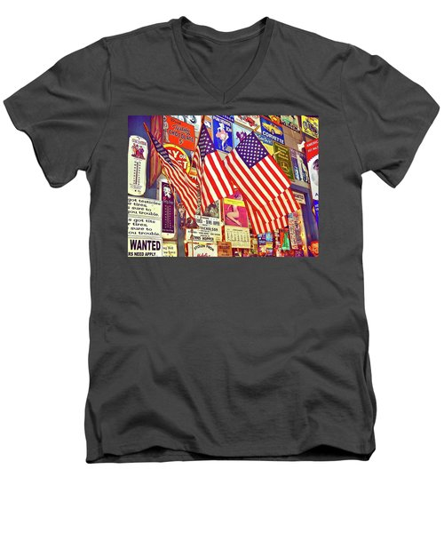 Men's V-Neck T-Shirt featuring the photograph Old Glory by Joan Reese