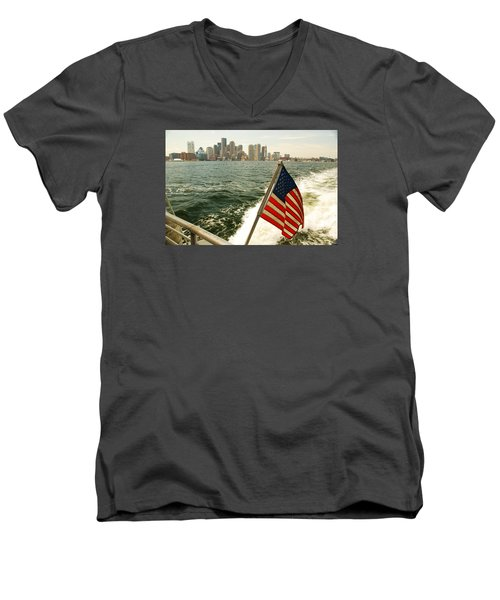 Old Glory On Boston Harbor Men's V-Neck T-Shirt by James Kirkikis