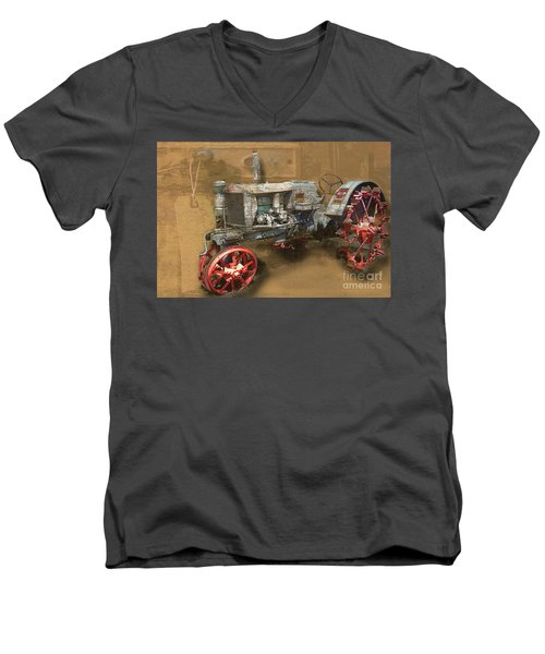 Old Grey Tractor Men's V-Neck T-Shirt by Deborah Nakano