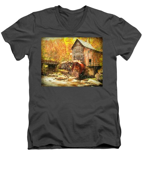 Men's V-Neck T-Shirt featuring the photograph Old Grist Mill by Mark Allen