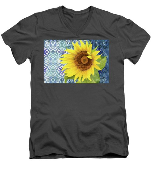 Men's V-Neck T-Shirt featuring the painting Old Havana Sunflower - Cobalt Blue Tile Painted Over Wood by Audrey Jeanne Roberts