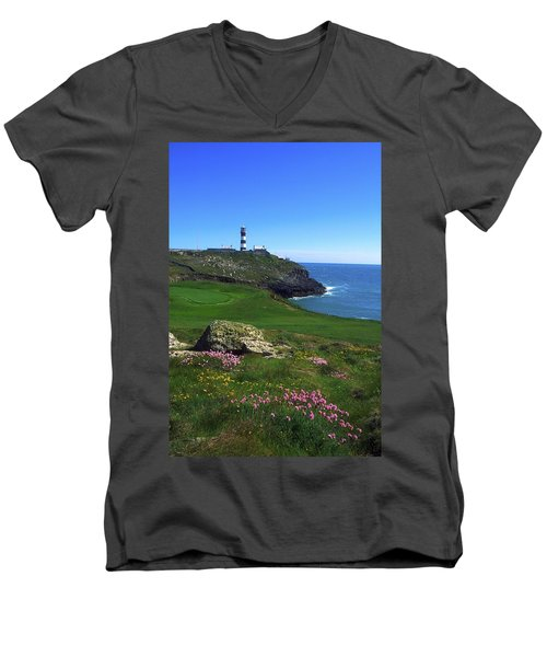 Old Head Of Kinsale Lighthouse Men's V-Neck T-Shirt by The Irish Image Collection