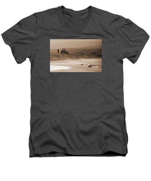 Old Hermosa Beach Men's V-Neck T-Shirt by Ed Clark