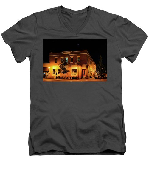 Old Hotel Moonlight Men's V-Neck T-Shirt by Dale R Carlson