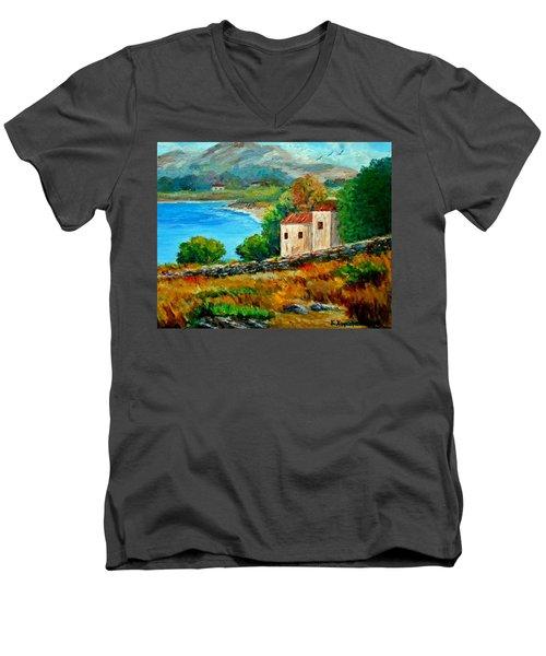 Old House In Mani Men's V-Neck T-Shirt