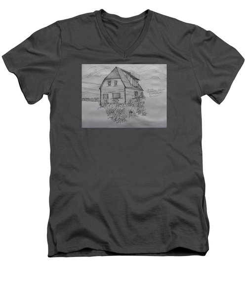 Men's V-Neck T-Shirt featuring the drawing Old House In Raleigh by Joel Deutsch