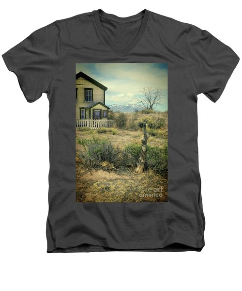 Men's V-Neck T-Shirt featuring the photograph Old House Near Mountians by Jill Battaglia