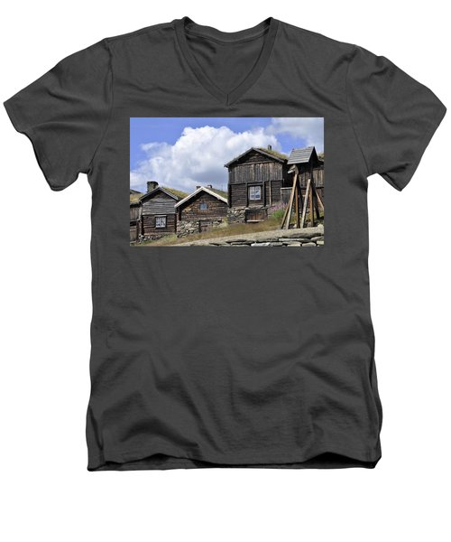 Old Houses In Roeros Men's V-Neck T-Shirt by Thomas M Pikolin