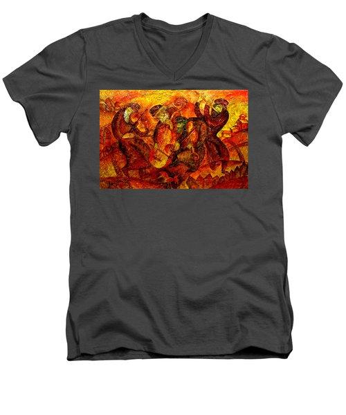 Old Klezmer Band Men's V-Neck T-Shirt by Leon Zernitsky
