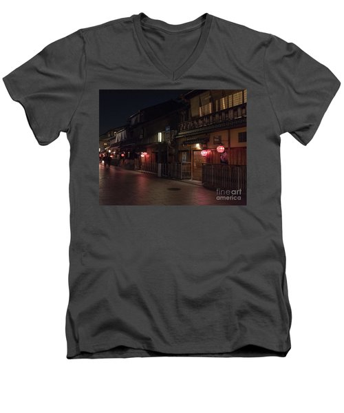 Old Kyoto Lanterns, Gion Japan Men's V-Neck T-Shirt