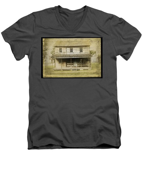 Men's V-Neck T-Shirt featuring the photograph Old Log Cabin by Joan Reese
