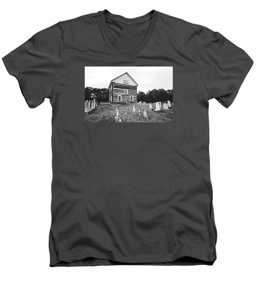 Men's V-Neck T-Shirt featuring the photograph Old Log Church by Trina  Ansel