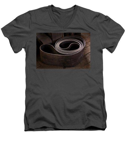 Old Machine Belt Men's V-Neck T-Shirt by Tom Singleton