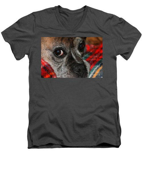 Men's V-Neck T-Shirt featuring the photograph Old Man Boxer by Debbie Stahre