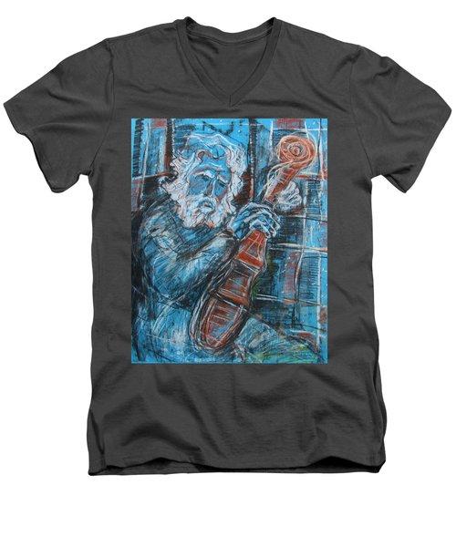 Old Man's Violin Men's V-Neck T-Shirt
