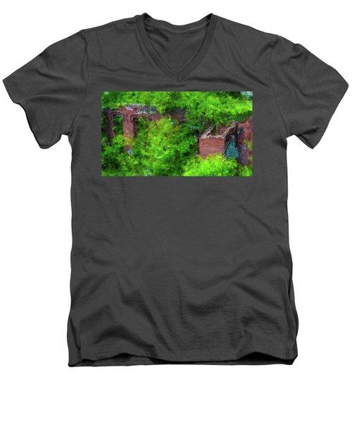 Old Mill Building In Lawrence Massachusetts Men's V-Neck T-Shirt