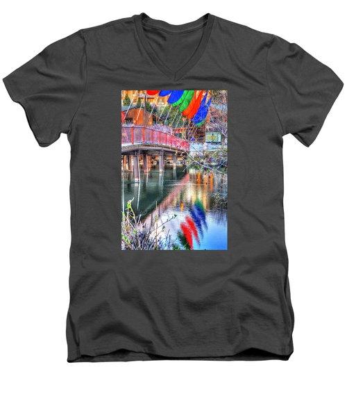 Old Mill Foot Bridge 481 Men's V-Neck T-Shirt by Jerry Sodorff