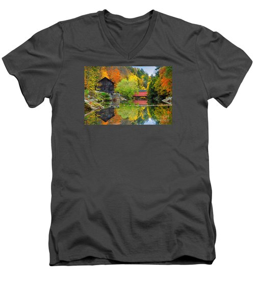 Old Mill In The Fall  Men's V-Neck T-Shirt by Emmanuel Panagiotakis