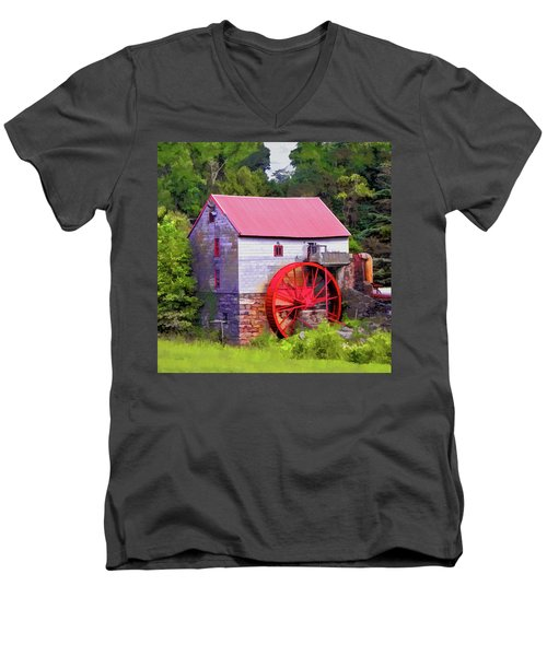 Old Mill Of Guilford Painted Square Men's V-Neck T-Shirt by Sandi OReilly