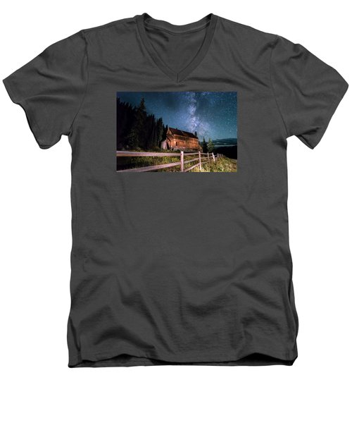 Old Mining Camp Under Milky Way Men's V-Neck T-Shirt