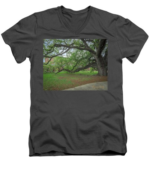 Men's V-Neck T-Shirt featuring the photograph Old Oak Tree by Gregory Daley  PPSA