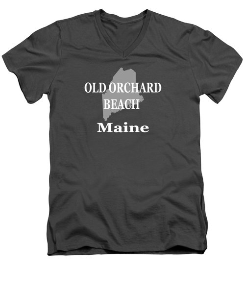 Men's V-Neck T-Shirt featuring the photograph Old Orchard Beach Maine State City And Town Pride  by Keith Webber Jr