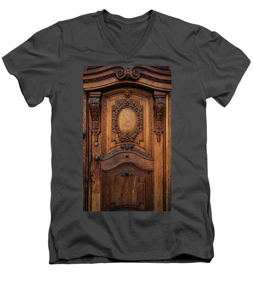 Old Ornamented Wooden Doors Men's V-Neck T-Shirt by Jaroslaw Blaminsky