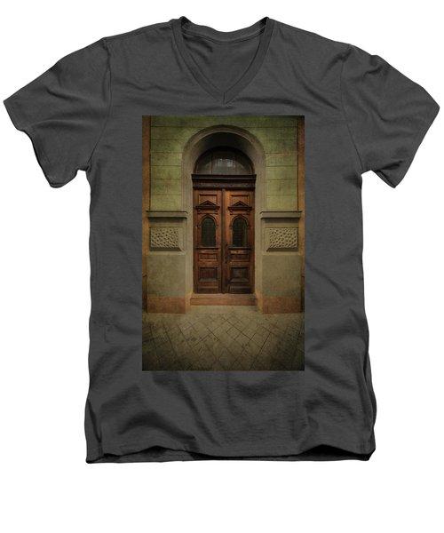 Old Ornamented Wooden Gate In Brown Tones Men's V-Neck T-Shirt by Jaroslaw Blaminsky